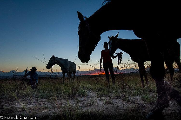 cavalli tramonto madagascar, bivacco